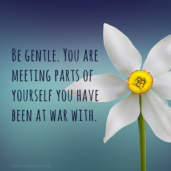 Be gentle. You are meeting parts of yourself you have been at war with.