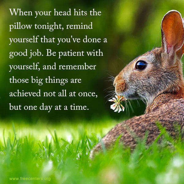 When your head hits the pillow tonight, remind yourself that you've done a good job. Be patient with yourself, and remember those big things are achieved not all at once, but one day at a time.